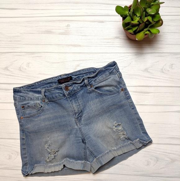Celebrity Pink Pants - Celebrity Pink Light Wash Distressed Denim Shorts